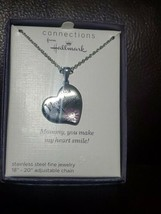 Connections from Hallmark Stainless Steel I Love You MOMMY Heart Pendant... - $19.79