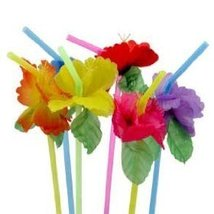 24 Multicolored Flower Bendy Straws Luau Cocktail Drink - $5.87