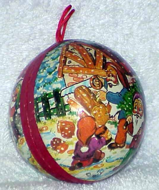 Vintage Paper Mache Candy Container Christmas Ornament - Elves