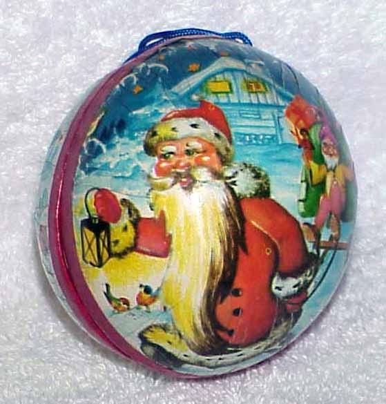 Ornamentpapermacheball santa 1