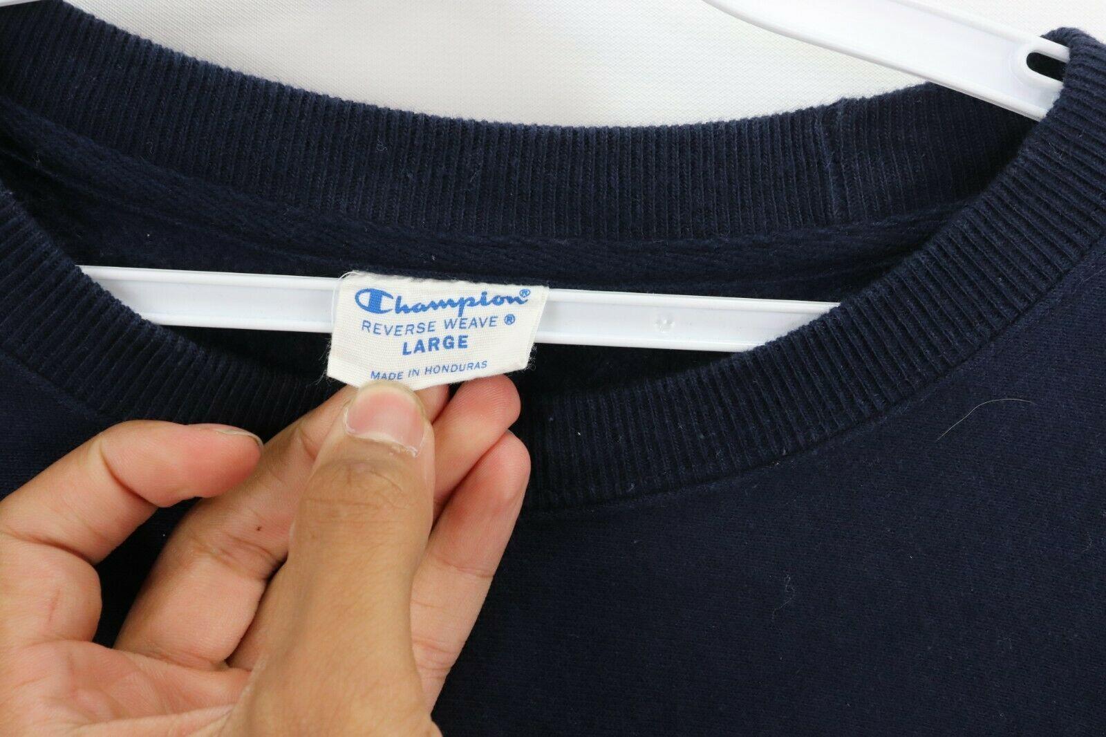 Champion Reverse Weave Mens Large Optimize Spell Out Crewneck Sweatshirt Blue image 6