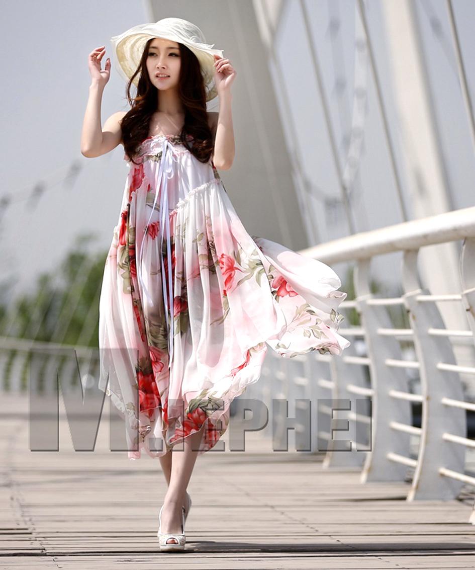 Bohemian White Red Floral Print Long Chiffon Maxi Skirt. Strapless Dress - Skirts