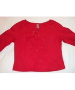 WOMEN ANDREW RED TOP SHIRT M MEDIUM 3/4 SLEEVES - $6.50