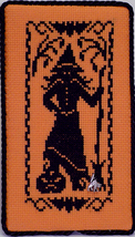 Halloween Silhouette Witch with Charm cross stitch chart Handblessings - $5.50