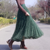 Dark Green Long Tulle Skirt Outfit Plus Size Bridesmaid Tulle Skirt, Pearl deco image 3