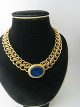 """Monet Chunky Chain Necklace Blue Cab Gold Tone 18"""" Double Chain Circa 80s - $68.31"""