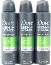 3 Dove Men+Care Dry Spray Extra Fresh Antiperspirant 48h Powerful - $21.99