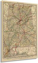1888 Map of Alabama - Vintage Map of Alabama Wall Art - Railroad Map of Alabama  - $34.99+