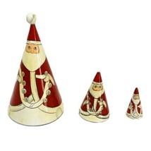 Santa Claus Nesting Dolls Cone Shaped Pointy Christmas Vintage Wood 3 Pi... - $14.22