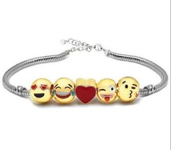 Metal Emoji Beads DIY Charms Bracelet Gold Plate - 1x w/Random Color and Design