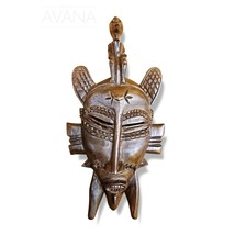 West African Vintage Tribal Ivory Coast Small Senufo Mask with Man on Head - $69.00