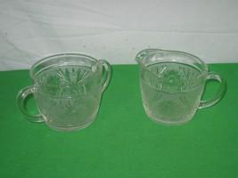 Vintage Creamer and Sugar Bowl Etched Clear Glass Starburst Leaf Motif - $12.16