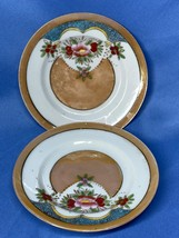 Vintage Royal Floral Design With Heart Saucer Set Of 2 Made In Japan Brown - $15.99