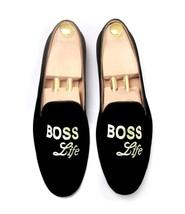 Black Velvet Embroidered Boos Shoes Slippers Wedding Loafer Shoes - $195.89 CAD