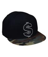 Cash Money Snapback Hat - Metallic Silver Dollar Sign, Black and Camo - £19.27 GBP