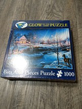 NEW Bits and Pieces 1000 Pc Glow in the Dark Puzzle All Is Bright Snow S... - $12.88