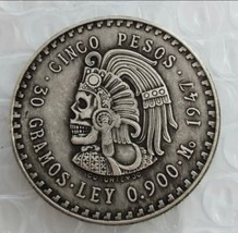 New Hobo Nickel 1947 Mexican Peso Skull Skeleton Casted Coin - $11.39