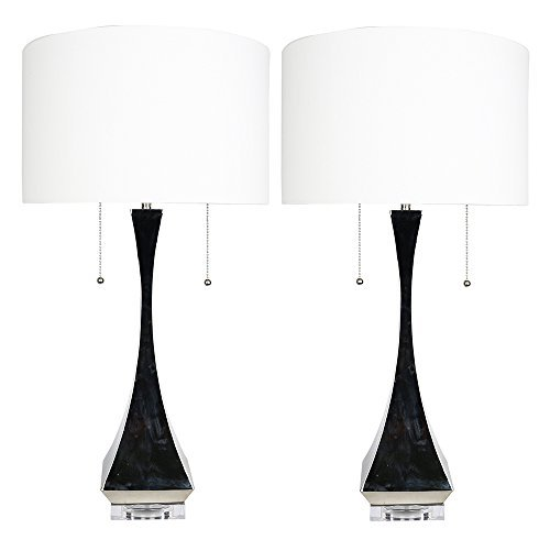 Urbanest Set of 2 Messina Table Lamps, Polished Nickel, 28-inch Tall