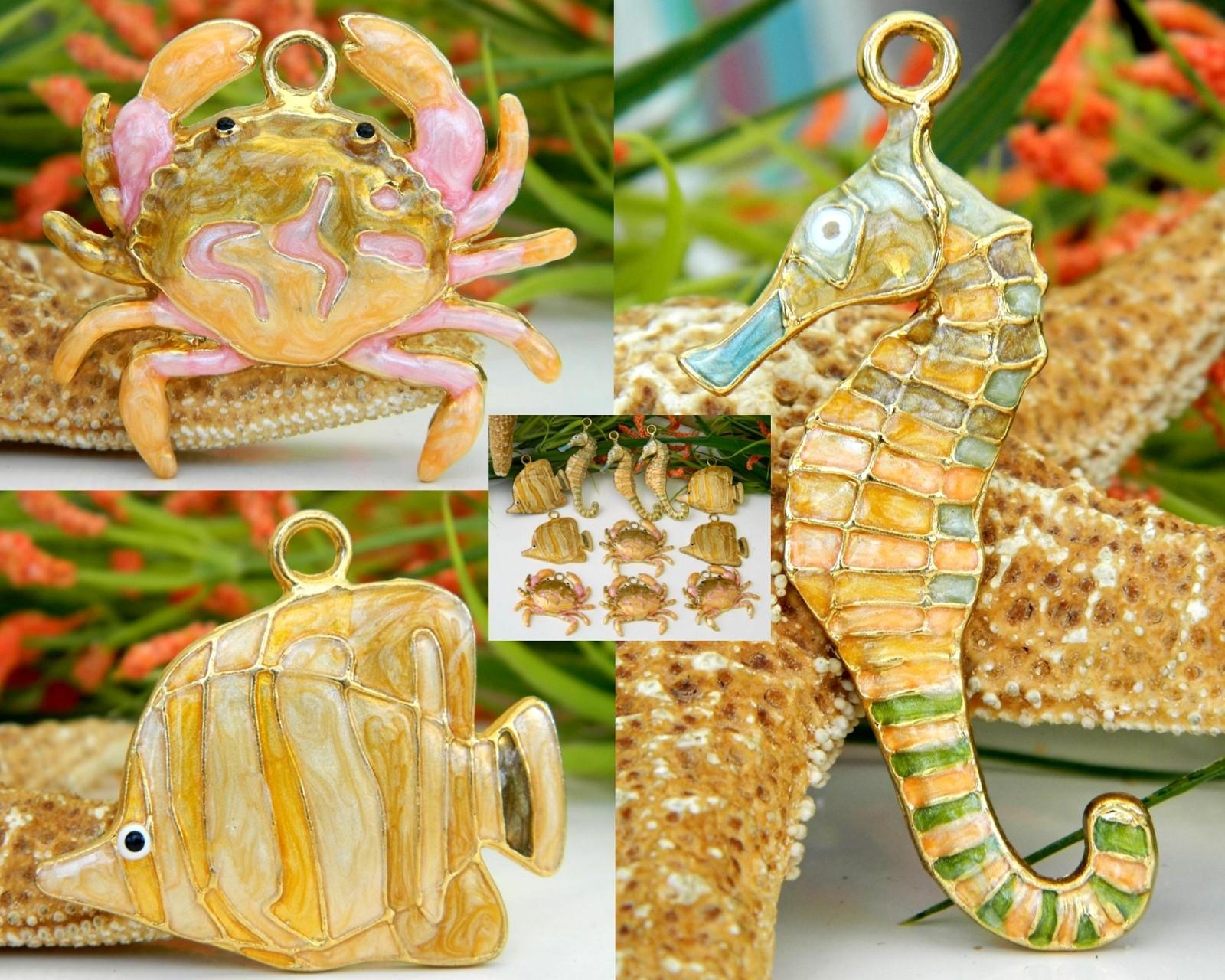 Lot 11 enamel sea life charms pendants seahorse crab fish for Lot of fish