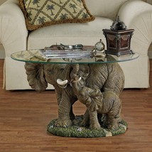 African ELEPHANT BABY SCULPTURE GLASS TOP COFFEE TABLE Cocktail Bar Den ... - $285.99
