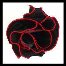 BLACK Silk RED border Trim Pocket square Round Handkerchief edge NEW $45 image 2