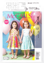 Pattern McCalls 7145 Girls Size 6 7 8 Dresses Pullover Easy, 2015 - $3.99
