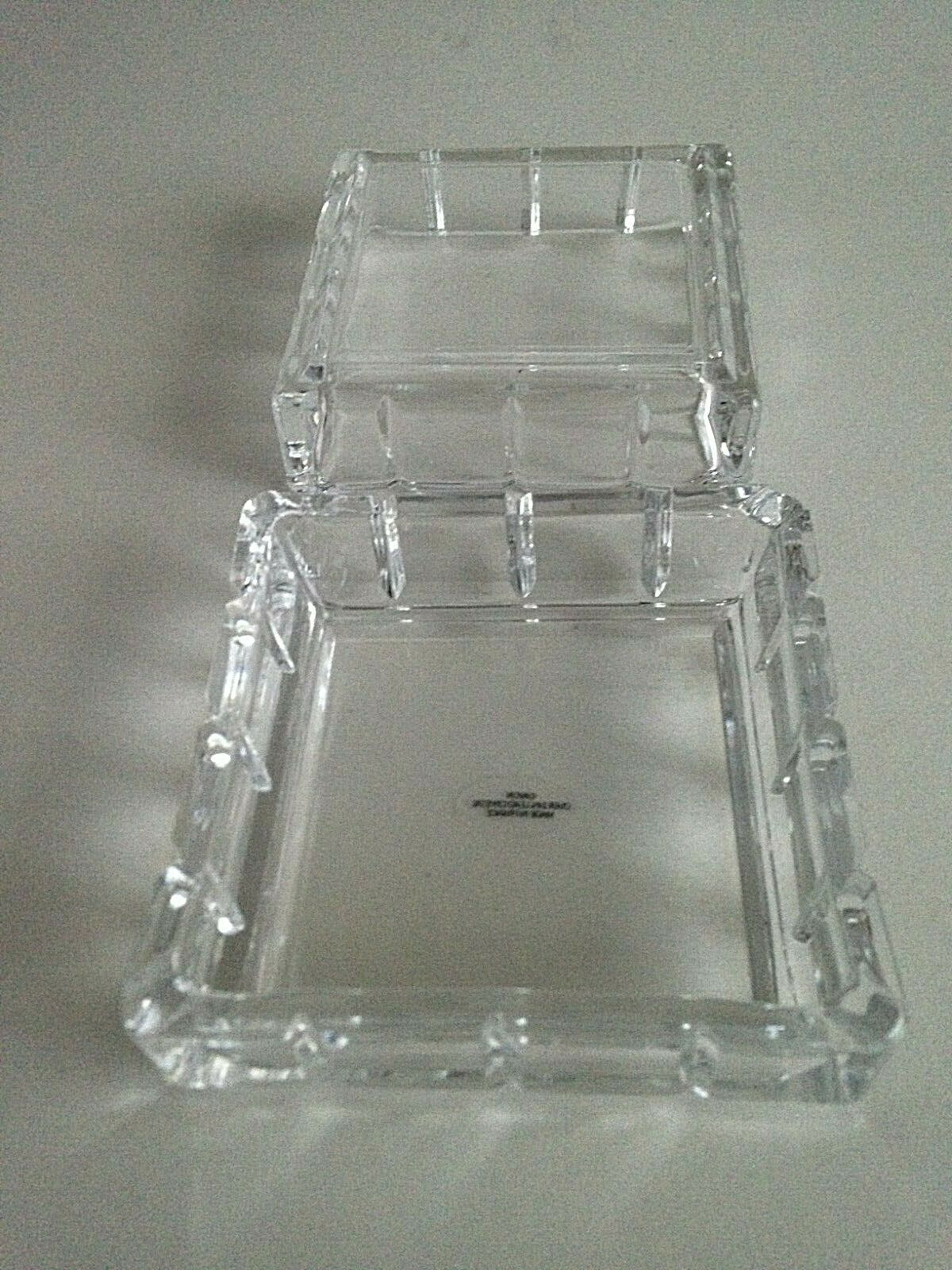 "AVON Square 24% Lead Crystal Keepsake Trinket Box 3.5""Jewelry-Rings-Coins-FRANCE"