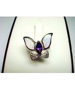 Sterling Silver Ring Butterfly White Opal Purple CZ - $22.00