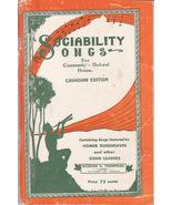 Sociability Songs Music Book Community School Home 1937 Copyright - $15.00