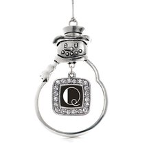 Inspired Silver My Vintage Initials - Letter Q Classic Snowman Holiday Decoratio - $14.69