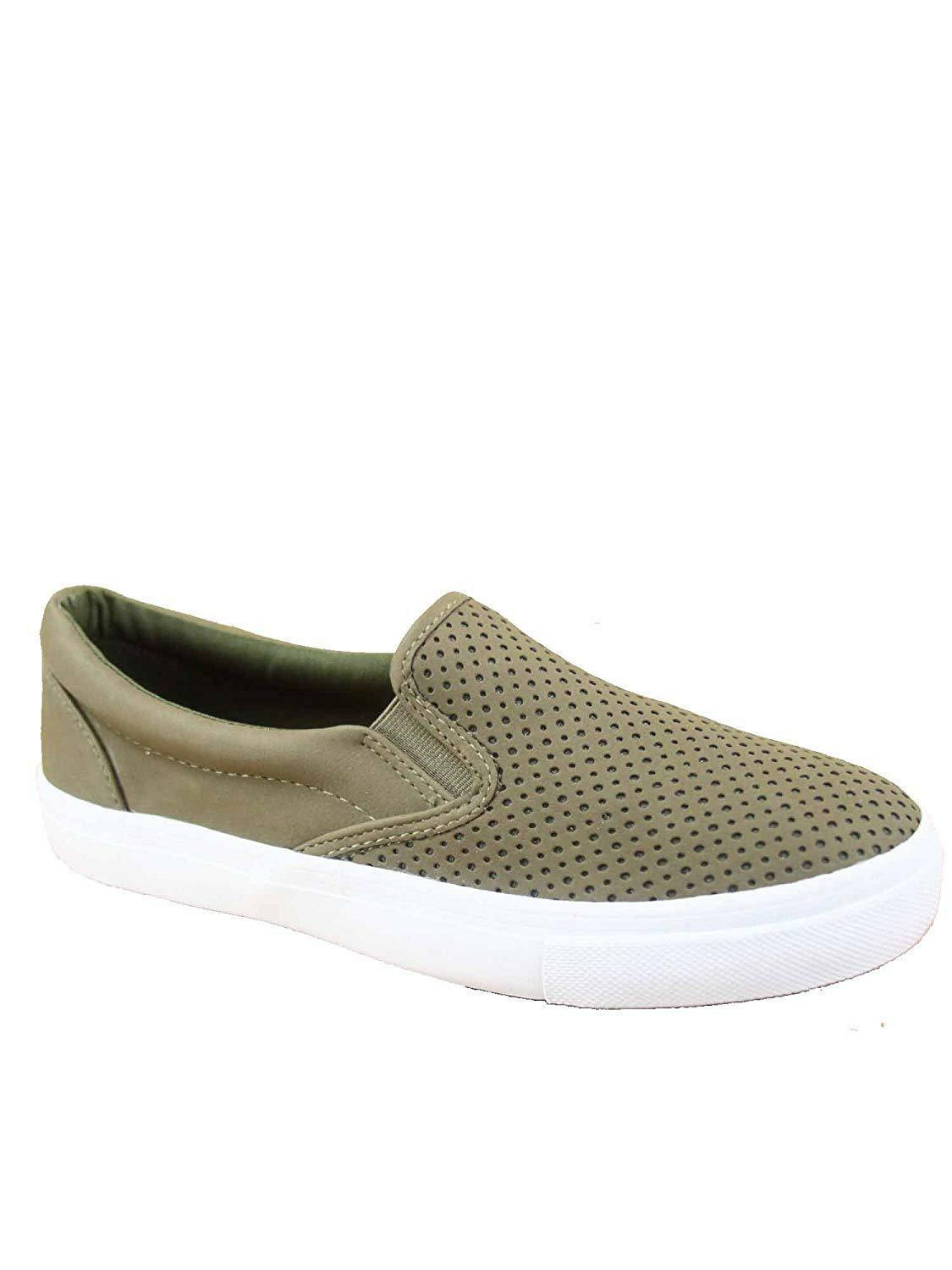 Soda Tracer-S Women's Cute Perforated Slip On Flat Round Toe Sneaker Shoes