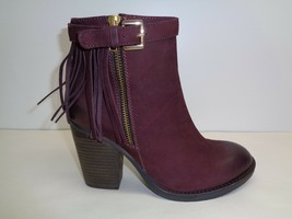 Steve Madden Size 8.5 WOODMEER Burgundy Leather Ankle Boots New Womens S... - £103.57 GBP