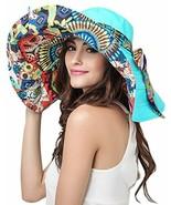 Women's Foldable Floppy Reversible Travel Beach Sun Visor Hat Wide Brim ... - $28.32