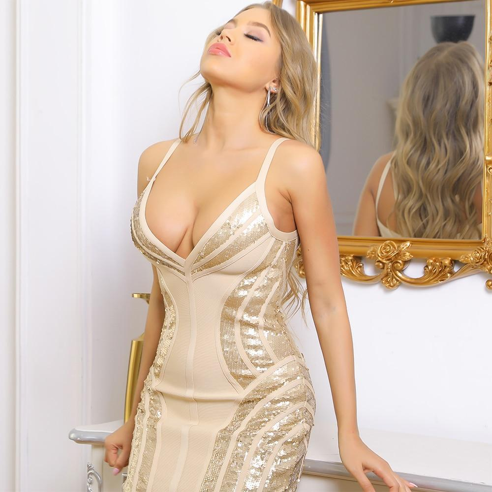 sequin dress women party night bodycon bandage dress 2021 new arrival silver sexy bandage dress