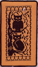 Halloween Silhouette Owls with Charm cross stitch chart Handblessings - $5.50