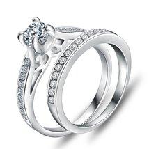 Trendy Silver Plated Charm Luxury Cubic Zirconia Newest Ladies Wedding R... - $13.49