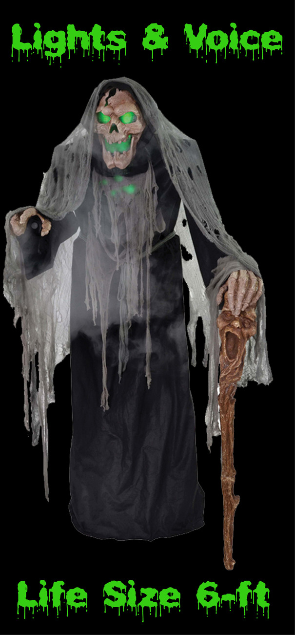 6' Life Size Demon ANIMATED ZOMBIE PESTILENCE Talking Animatronic Halloween Prop
