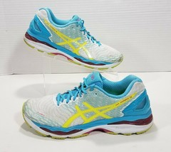 Asics Gel-Nimbus 18 Running Shoes Womens Size 12 White Blue Yellow Pink ... - $43.90