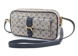 Authentic LOUIS VUITTON Juliette MM Blue Monogram Mini Lin Shoulder Bag ... - $329.00