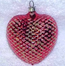 Red Heart - Vintage Glass Christmas Ornament NOS West Germany - $10.00