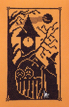 Halloween Silhouette Bewitching Hour with Charm cross stitch chart Handblessings - $6.50
