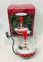 1998 Santas Spin Top MOTION Hallmark Christmas Tree Ornament Box w Price... - $29.21