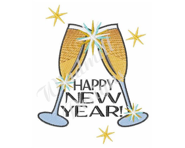 Happy New Year Toast- Machine Embroidery and similar items