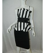 NWT Bettie Paige Tatyana Dress Black White Striped Peplum Wiggle Pinup X... - $74.55