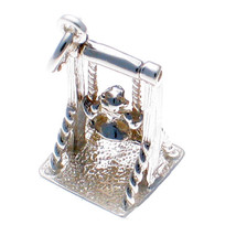 Welded Bliss British Sterling Silver Girl on Moveable Swing Charm 925 Silver - $32.75