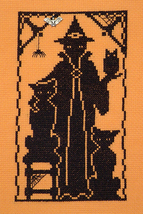 Halloween Silhouette Witches Pets with Charm cross stitch chart Handblessings - $6.50