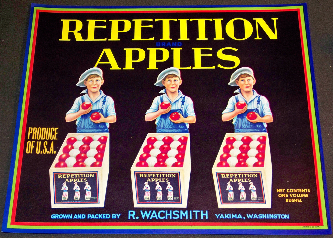 Patriotic Triplets! Repetition Crate Label, 1930's