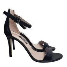 Nine West Womens Black Leather Mana Ankle Strap Open Toe Buckle High Heels Sz 7M - $34.88