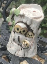 Vintage Owl Family-Mom, Dad And Owlets in Tree Trunks Ceramic Matching Set Of 2 image 6