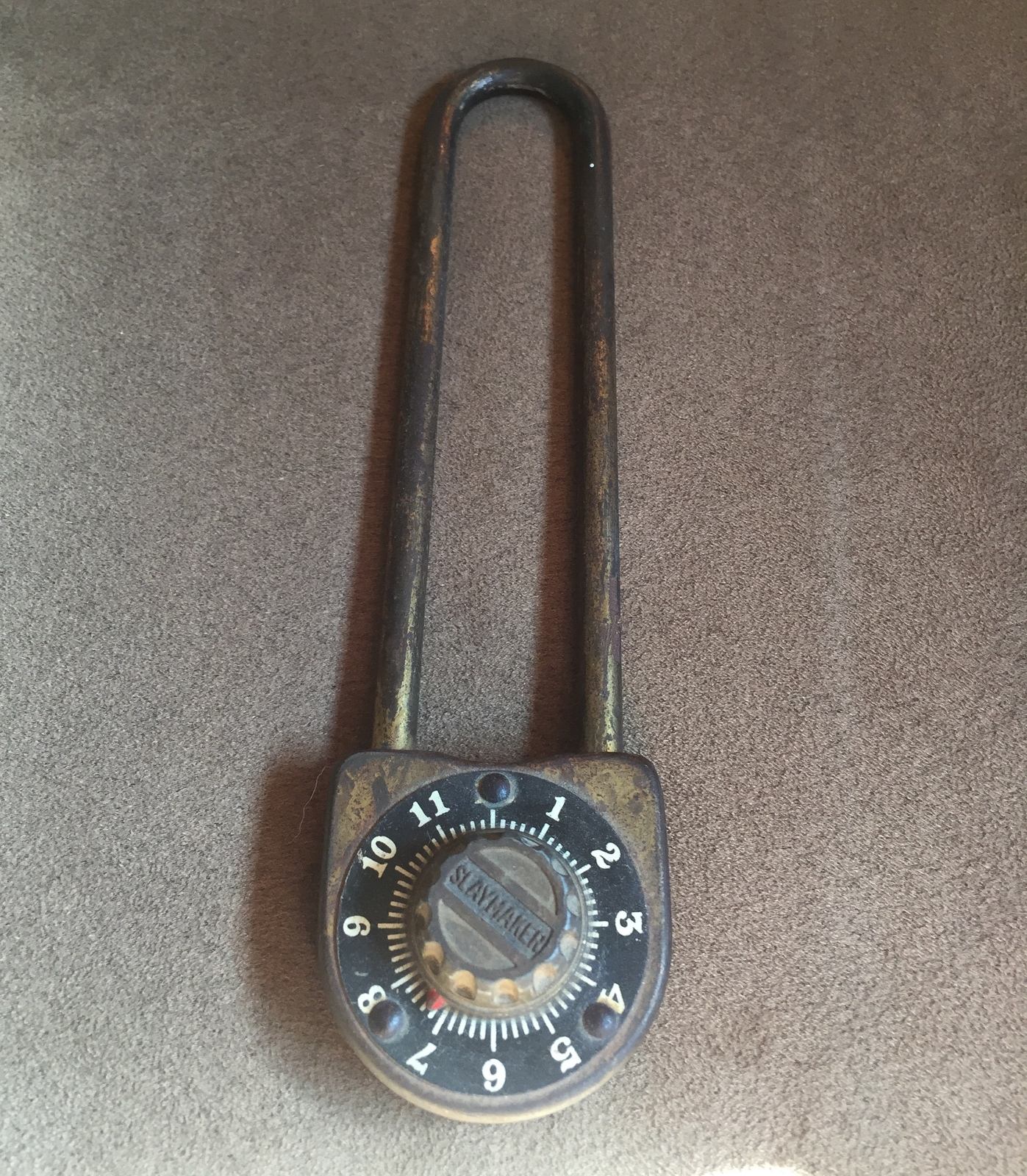 Vintage 40s Slaymaker long combination padlock